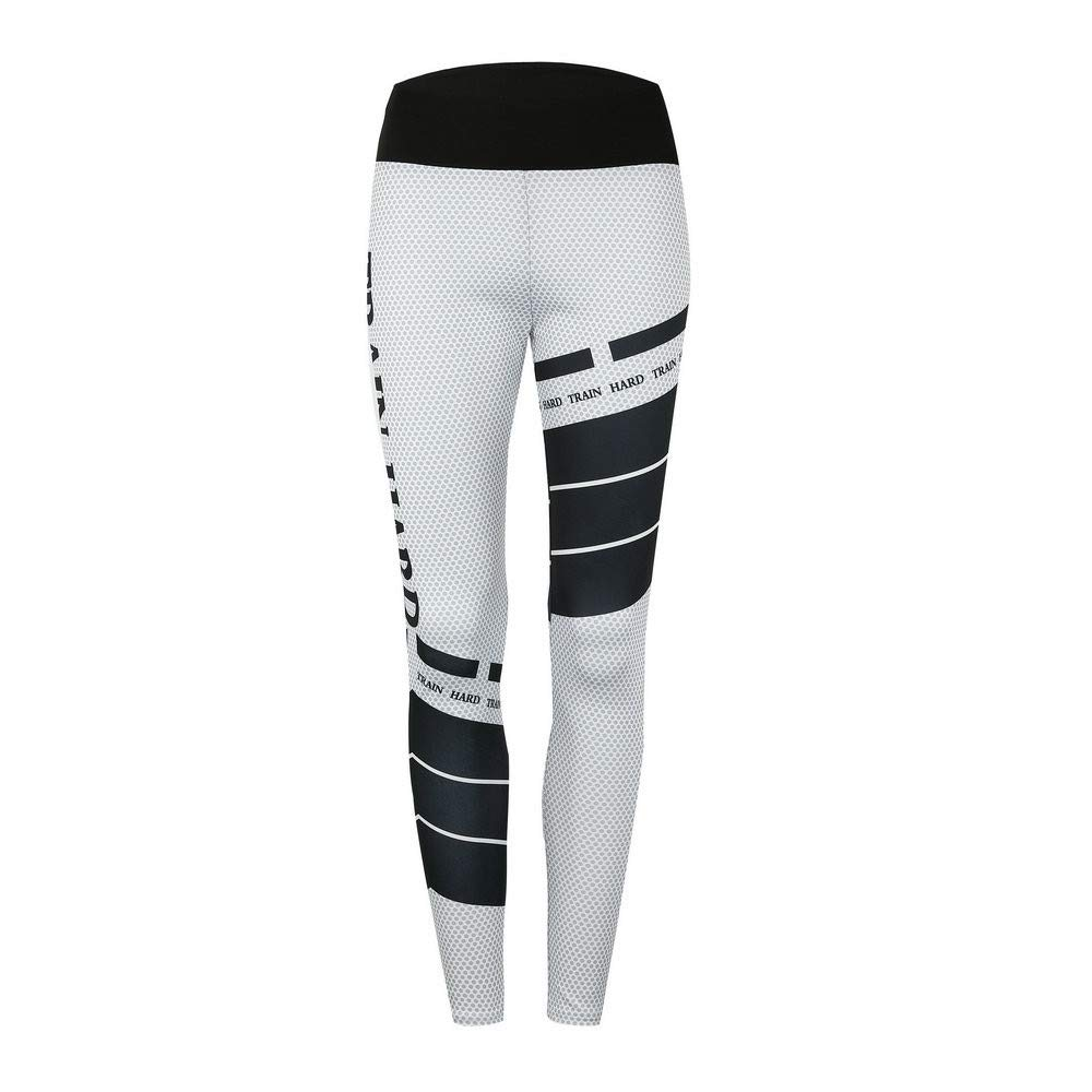 iLUGU Womens Sports Gym Yoga Workout Mid Work Out Pants Trousers Yoga Waist Running Fitness Elastic Leggings White