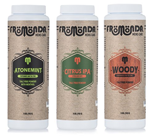 Fromonda Variety Pack Talc Free Body Powder, (3 Pack), 5 oz each - Usa Body Powder
