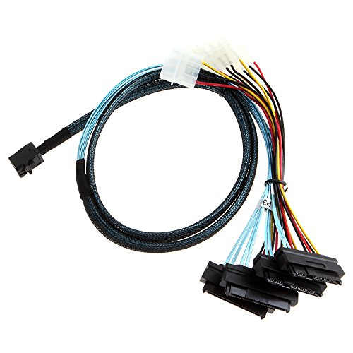 CableCreation Internal Mini SAS SFF-8643 to (4) 29pin SFF-8482 connectors with SATA Power ,1M by CableCreation