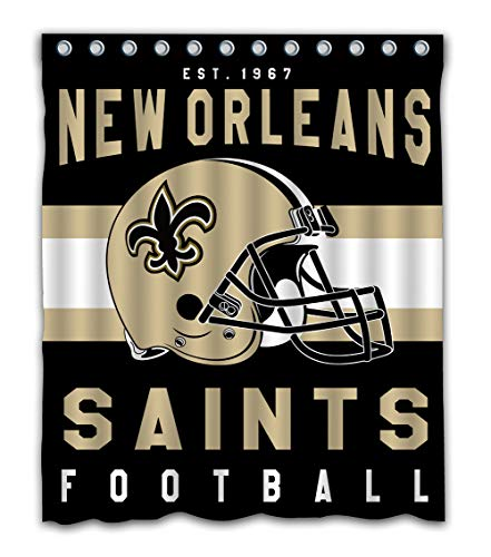 Weckim Custom New Orleans Football Team Waterproof Fabric Shower Curtain Colorful Design for Bathroom Decor 12 Holes Size 60x72 Inches ()