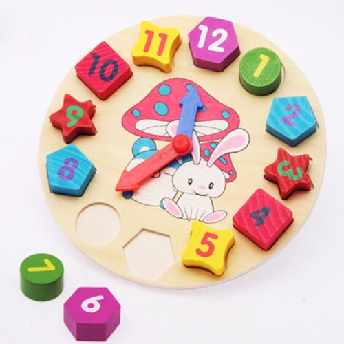 Wooden Colorful Number Shape Sorting Clock Wooden Educational Toy for Kids Baby Toddler (Hats Accordian)