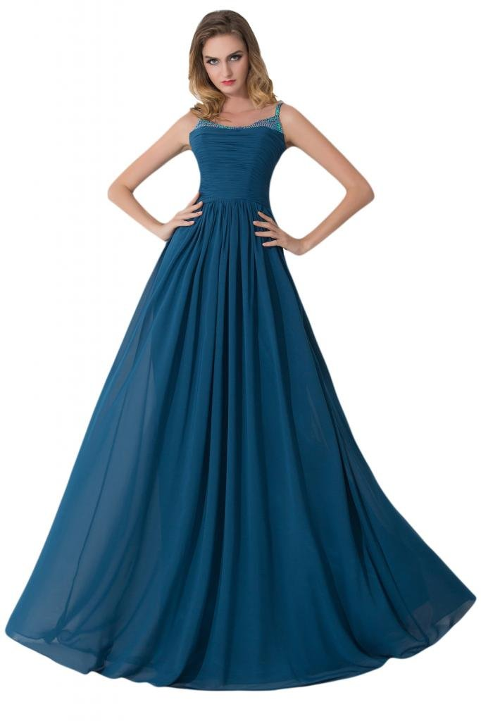 sunvary Spaghetti Strap Azul Tinta vestidos de fiesta Prom Fiesta Plisado con volantes: Amazon.es: Ropa y accesorios