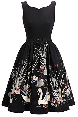 Joansam Women's 50s Vintage Floral V-Neck Midi Dress Sleeveless Cocktail Party A Line Swing Dresses with Belt (Black Swan Halloween 2017)