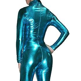 - 51I5CLT86iL - Nawty Fox Turquoise Metallic Wet Look Fetish Super Hero Bodysuit Catsuit Costume