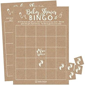 Amazon Com 25 Rustic Kraft Bingo Game Cards For Baby Shower Bulk