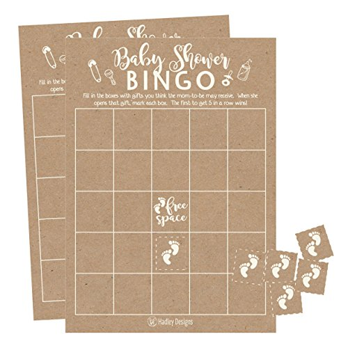 25 Rustic Kraft Bingo Game Cards For Baby Shower, Bulk Blank Bingo Squares, PLUS 25 Pack of Baby Feet Game Chips, Funny Baby Party Ideas and Supplies For Girl or Boy, Cute Kids Woodland Paper Pattern -