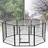 YAHEETECH Heavy Duty Metal Dog Playpen - 32/40-inch Foldable Pets Playpen Dog Exercise Pen Barrier Fence Outdoor Indoor 24/32 Panel Black 24 Panels/40