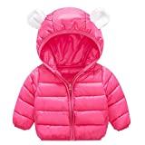 Baby Boys Girls Winter Puffer Down Jacket Kids Ear Warm Coat Thicken Cotton Hoodie Outwear Lightweight Windproof Jacket (12-18 Months, Rose)
