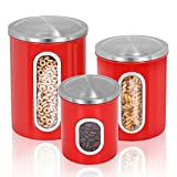 Fortune Candy Kitchen Airtight Storage Cans Stainless Steel Canisters Set of 3 Pieces (Ruby Red)