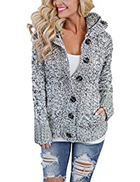 Annflat Women's Hooded Cable Knit Button Down Cardigan...