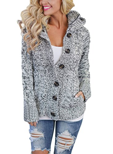 Annflat Women's Hooded Cable Knit Button Down Cardigan Fleece Sweater Coat Large (Heathered Wool Jacket)