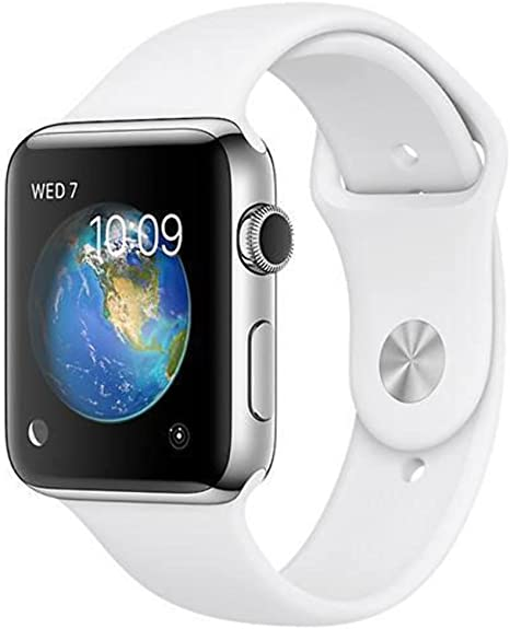 Apple Watch Series 2, 42mm Stainless Steel Case with White Sport Band (Renewed)