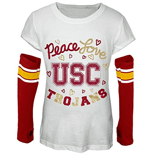 USC Trojans - Peace Glitter Logo Girls Juvy T-Shirt w/Detached Sleeves - Juvy 8 (Tee Trojans Usc)