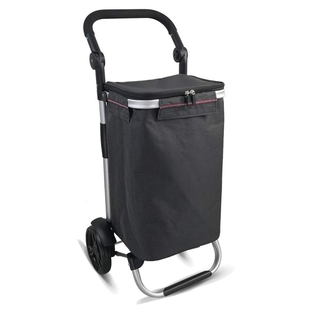 ショッピングカート、超軽量2輪ポータブル防水オックスフォード布アルミ合金折りたたみトロリー-L45 * W35 * H92.5cm (色 : 黒)  黒 B07KKG6N7V
