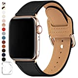 POWER PRIMACY Bands Compatible with Apple Watch Band 38mm 40mm 42mm 44mm, Top Grain Leather Smart Watch Strap Compatible for Men Women iWatch Series 5 4 3 2 1 (Black/Gold, 38mm/40mm)