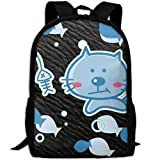 Cute Cat Double Shoulder Backpacks For Adults Traveling Bags Full Print Fashion