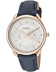 Fossil Womens Tailor Quartz Stainless Steel and Leather Casual Watch, Color:Blue (Model: ES4260)