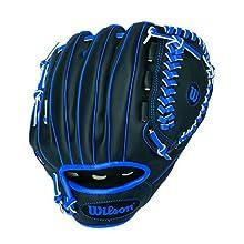 """Wilson A200 10"""" Tee Ball Glove, Black/Blue - Right Hand Throw"""