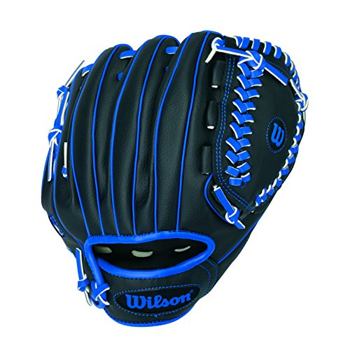 "Wilson A200 10"" Tee Ball Glove, Black/Blue - Right Hand Throw"