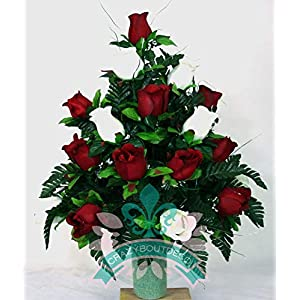 XL Red And White Roses Cemetery Flowers for a 3 Inch Vase 1