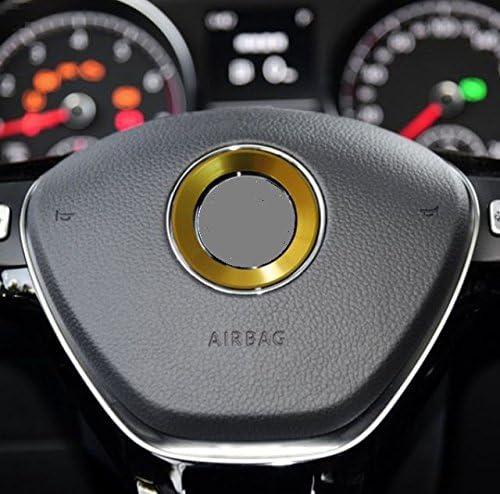 Gold Selbstklebend Aluminium Ring 101933 Vwring Lenkrad Emblem Blende Abdeckung Rahmen Logo Aufkleber Inion Auto