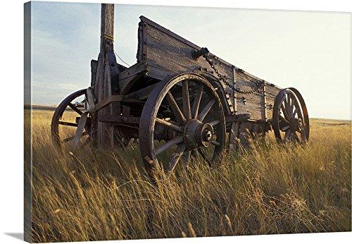 Paul Souders Premium Thick-Wrap Canvas Wall Art Print entitled Canada, Saskatchewan, An old horse-drawn cart in a field near Maple Creek 48
