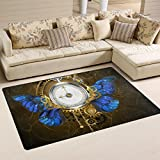 WellLee Area Rug,Steampunk Clock With Blue Butterfly Wings Morpho Floor Rug Non-slip Doormat for Living Dining Dorm Room Bedroom Decor 31x20 Inch