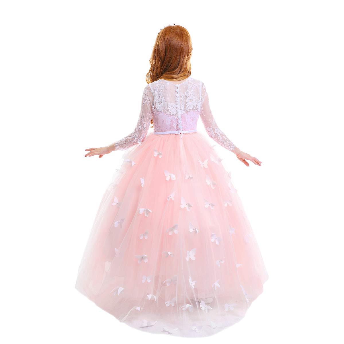 IWEMEK Princesa Vestido de Ni/ña de Flores Appliques de Encaje Tul Bowknot Boda Vestidos de Dama de Honor Comuni/ón Cumplea/ños Carnaval Pageant Bola C/óctel Fotograf/ía Vestido de Fiesta 2-13 A/ños