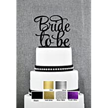 Bride To Be !! Groom Proposes to His Bride Cake Topper Wedding Engagement Many Colors (Glittery Purple)