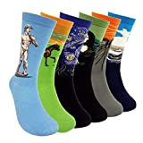 Famous Painting Art Printed Mens Dress Socks - HSELL Crazy Patterned Fun Crew Cotton Socks 6 Pack (C2), One Size