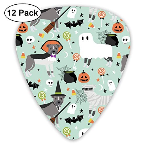 Pitbull Halloween Costume Dog Vampire Ghost Mummy Light Classic Celluloid Picks, 12-Pack, For Electric Guitar, Acoustic Guitar, Mandolin, And -