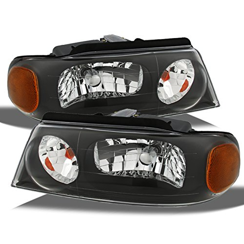 (For Lincoln Navigator Black Bezel OE Replacement Headlights Driver/Passenger Head Lamps Pair New)