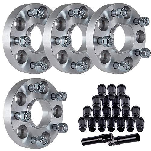 ECCPP Replacement for 4X 1 5x4.5 5x114.3 12x1.5 Wheel spacers + 20Pcs 6 Spline Lug Nuts for Honda CR-V - Accord Wheel Honda Base