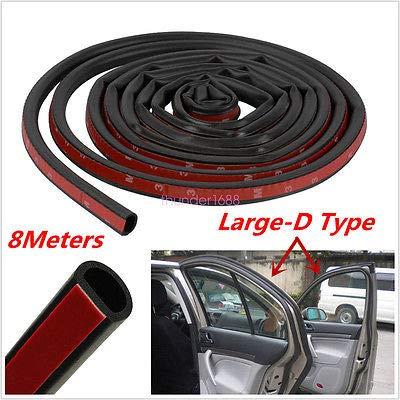 FidgetFidget Trim Rubber Strip 8M Big D-Shape Moulding Black Car Door Edge Seal Weather-Strip