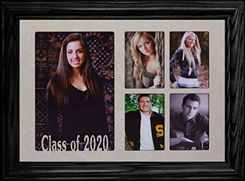 7x10 CLASS OF 2020 5-Opening Collage Portrait Picture Frame ~ Laser Cut Cream Marble Matboard with Hardwood Frame ~ Wonderful Graduation Gift Idea! (BLACK ()