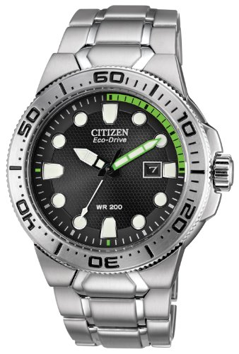Citizen Men's Eco-Drive Stainless Steel Diver Watch with Date, BN0090-52E Citizen Diver Bracelet