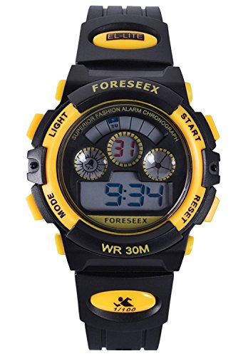 Kid's Digital Sports Watch Water-Resistant Outdoor Daily Wristwatch for Girls and Boys, Standard & Military Time, Alarm, Backlit Display