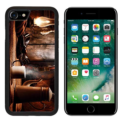 Liili Premium Apple iPhone 8 Aluminum Backplate Bumper Snap Case Image ID: 18583716 American West Legend Cup of hot Steamy Coffee and Brewing Pot on an Old Wood Table with