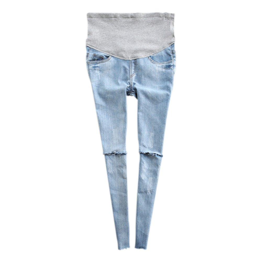 Hzjundasi Donne Gravidanza I pantaloni Maternità magro Jeggings Oltre The Bump Jeans strappati