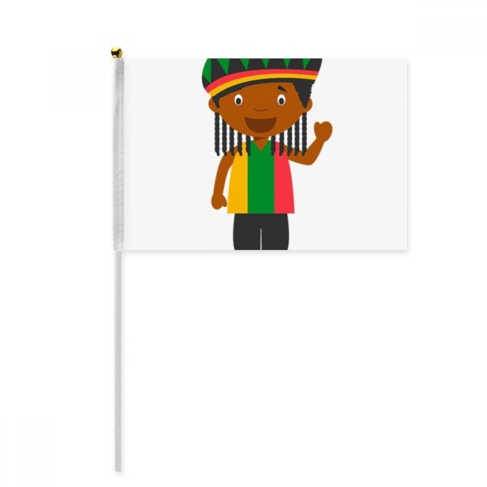 Black Wild Jamaica Cartoon Hand Waving Flag 8x5 inch Polyester Sport Event Procession Parade 4pcs