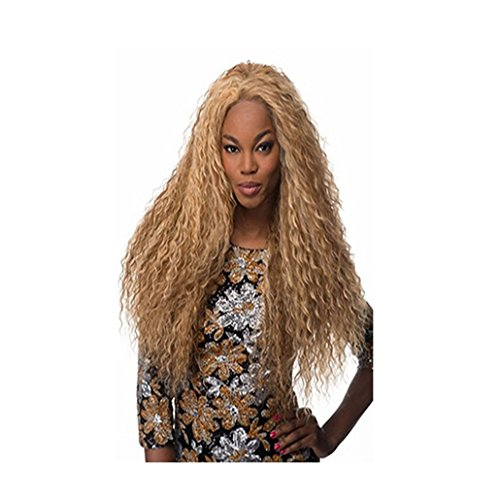 Longlove Long Curly Wavy Heat Resistant Wigs for Women with Wig Cap (Gold) (70s Disco Gold Adult Costume)