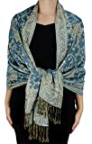 Peach Couture Elegant Double Layer Reversible Paisley Pashmina Shawl Wrap Scarf Turquoise