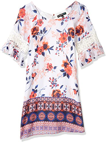 My Michelle Girls' Big Shift Dress with Crochet Trim, Ivory/Multi, 7 (My Clothes Michelle)