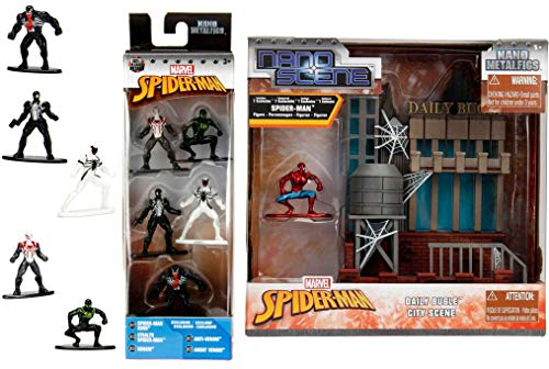 (Venom / Spider-Man / Stealth / 2099 Nano Figure MEGA Pack Mini Metal Character Set City Scene Classic Spider-Man Suit with Daily Bugle Building Super-Hero Action)