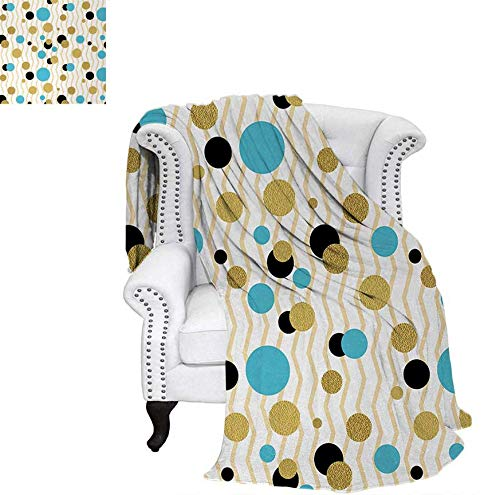 - Oversized Travel Throw Cover Blanket Trippy Geometric Circles Dotted Gold Rounds on Zig Zag Lined Background Artwork Print Super Soft Lightweight Blanket 60