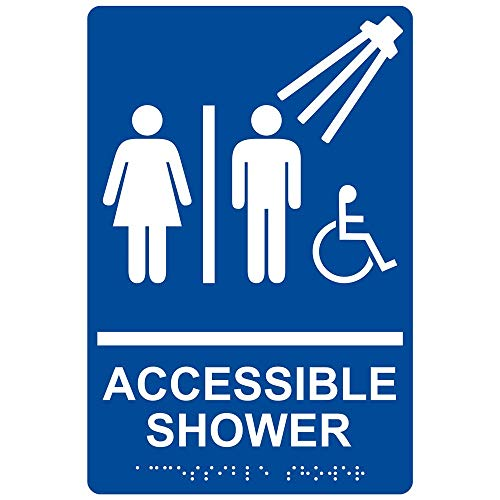 ComplianceSigns Acrylic ADA Accessibility sign, 9 x 6 inch Tactile + Braille Blue ()