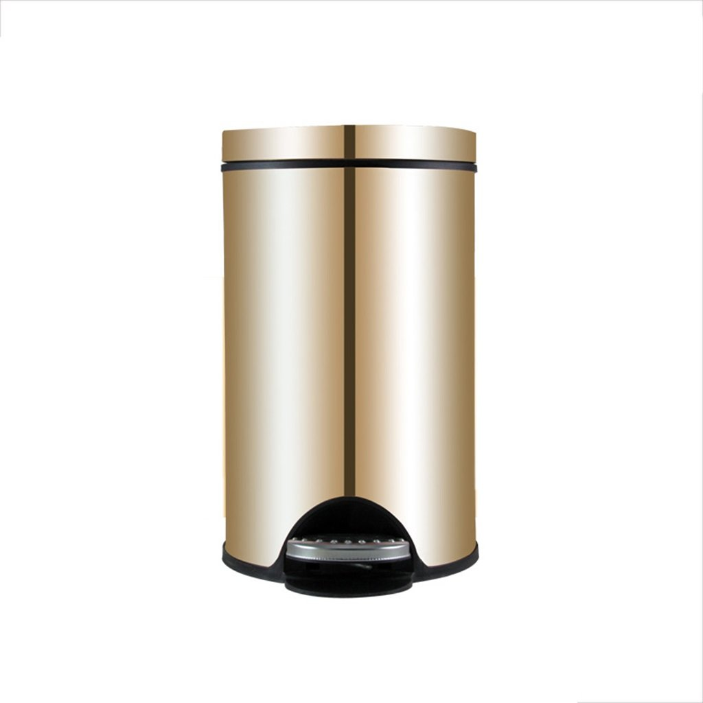 Pedal Stainless Steel Trash Can Home Bathroom Large Creative Covered Living Room Kitchen Creative European Trash Can ( Color : Gold , Size : 5L ) ZLL-Waste Bins