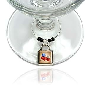 Vintage Chile Flag Wine Glass Drink Marker Charm Ring