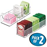 coffee bar caddy - mDesign Kitchen Pantry, Cabinet, Countertop Organizer Storage Station Tea Caddy - 3 Sections, Built-In Handles - BPA Free, Food Safe - Holds Bags, Cups, Pods - Pack of 2, 9