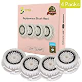 4-Pack Replacement Brush Head for Sensitive Facial Cleansing. Compatible with Mia 1, 2, 3(Aria), SMART Profile, Alpha Fit, Plus, Sonic Radiance. (Sensitive)